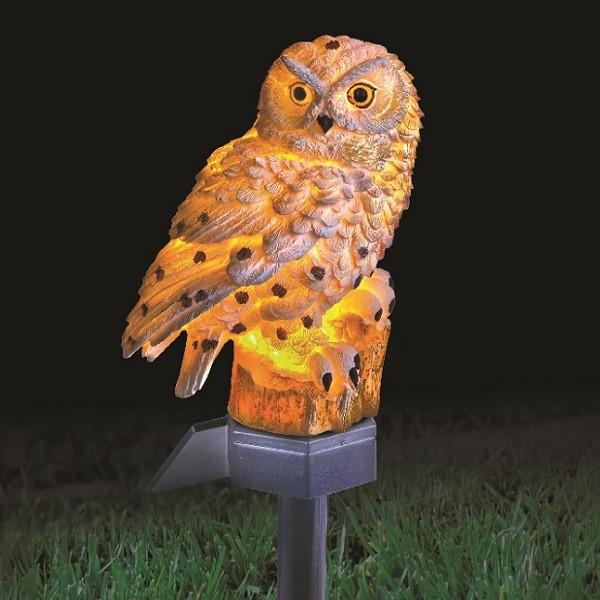 Solar White Owl Light Solar White Owl Light Nighttime_1